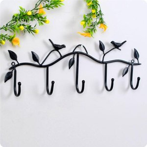 Retro Creative 5 Hooks Wrought Iron Bird and Leaf Shape Hooks Wall Dress Robe Hook Key Coat Holder Cap Hanger Home Decoration
