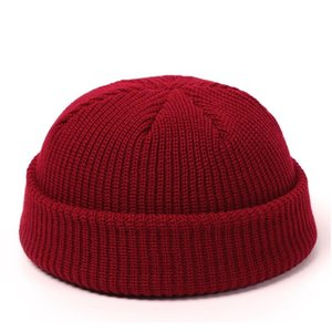 Knitted Hats For Women Skullcap Men Beanie Hat Winter Retro Brimless Baggy Melon Cap Cuff Docker Fisherman Beanies Hats For Men F wmtjrV