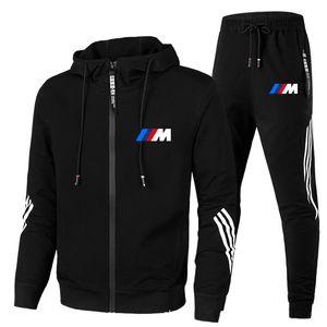 New BMW men's autumn and winter suit zipper Hoodie + pants 2-piece casual sportswear men's sportswear gym brand clothing sports X0124