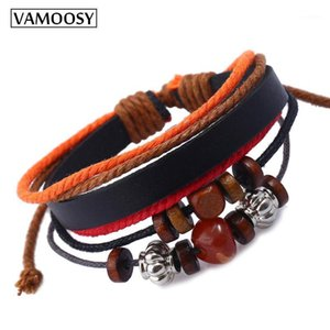 Vamoosy Beads Vintage Pulsera de cuero multicapa Hombres Moda trenzado Hecho a mano Star Rope Wrap Wrap Boho Brazalets Bangles Gift Masculino1