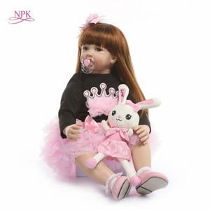 NPK 60cm Silicone Reborn Baby Doll Toys Like Real Vinyl Princess Toddler Babies Dolls Girls Bonecas Birthday Present Play House Q1124