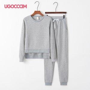 Ugoccam Tracksuit Irregular Dois Peça Set Split Pullover Sweater Calças Terno Outono 2020 Mulheres LJ201118