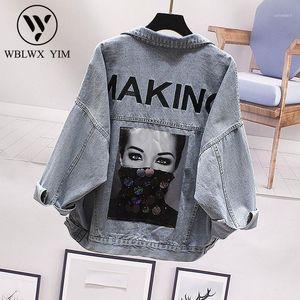 Harajuku Denim Jacket Femme Mode Broderie Paire à la manches longues Jeans Jacket Femmes 2019 Spring Streetwear Basic Denim Coat1