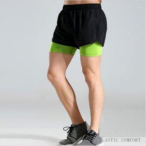 Yfashion Summer Summer Secado rápido Elástico Fake 2pcs Shorts Trainning Do Take Ejercicios Slim Beach Shorts for Man1