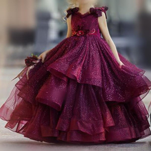 Purple Puffy Flower Girl Dresses for Wedding Lace Beads 3D Floral Appliqued Pageant Party Gowns Princess Girl Wear