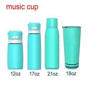 Más nuevo DHL Free Music Cup Speaker Thermos Musical Acero Inoxidable Aislado Música Impermeable Vaso con Tapa