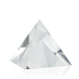 Energy Healing Hollow Crystal Glass Egypt Pyramid Fengshui Figurines Chakra Healing Miniature Home Decoration Accessories