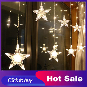 2.5M LED Christmas Lights Star Curtain String Light 220V Fairy Light Outdoor Indoor Garland For Party Wedding Holiday Decoration Q1127