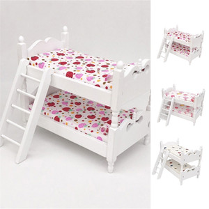 1:12 Mini Wood Colorful Printing Bed Doll House Furniture Children Simulation Doll House Educational Toys Gifts 201217
