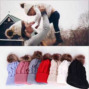 Warm Knitted Winter Pom Beanies Hat Women Kids Cuffed Skull Caps Fashion Solid Twist Crochet Knit Beanie Ski Sport Outdoor Headwear E112002
