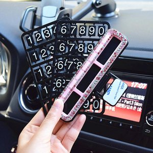 Fashion Simple Crystal Car Styling Temporary Parking Card Diamond With Suckers Phone Number Card Plate Car Accessories H bbyfUo packing2010