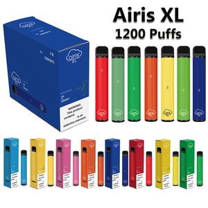 Оригинальный Airis XL Одноразовые Vapes 1200 пуфы Устройство Электронная сигарета 5,0 мл Предварительно заполненные Pod 850mAh Предварительно заряженная батарея 15 цвета факультативных