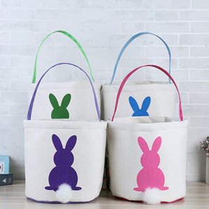 Easter Rabbit Basket Easter Bunny Bags Rabbit Printed Canvas Tote Bag Egg Candies Baskets 4 Colors PPD206