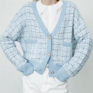 TRAF MUJERES 2020 Moda Plaid Pequeño fragancia bolsillos sueltos Punto Cardigan Suéter Vintage Mujer Outerwear Streetwear