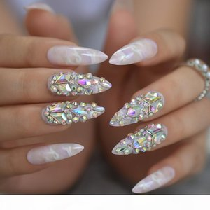 Gorgeous Luxury Press On Nails Extra Long Light Marble Colorful Crystal Faux Ongles with Large Rhistones AB Perfect Party