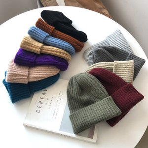 New Candy Colors Winter Hat Women Knitted Warm Soft Trendy Kpop Style Wool Beanie Elegant All-match