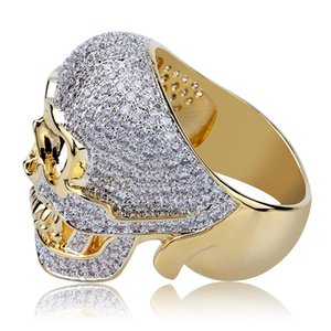 Gold Plated Iced Out Zirconia Halloween Unique Skull Hip Hop Punk Bling Rings Full Diamond Jewelry Gifts for Men 27cm Comfort Fit Wholesale