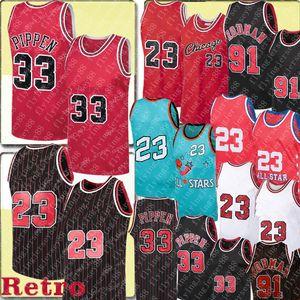 Rétro 23 Jersey Scottie 33 Pippen Jersey Dennis 91 Rodman Jersey 1996 Maillasses de basket-ball de basket-ball mâle S-XXL