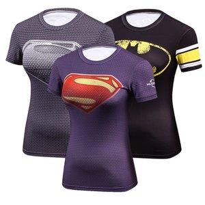 T-shirt da donna a compressione secco a maniche corte a maniche corte T-shirt fitness donna elastica sottile superman stampa t-shirt x1217