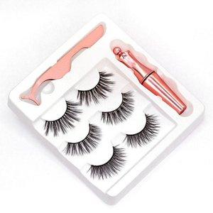 NEW 5 styles 3 Pairs Magnetic Eyelashes False Lashes +Liquid Eyeliner +Tweezer eye makeup set 3D magnet False eyelashes No Glue