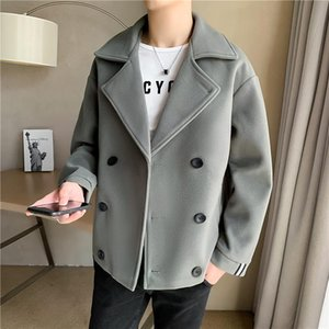 Windbreaker jacket men's autumn and winter short woolen cloth 2020 design sense Korean trend handsome British wind woolen coat