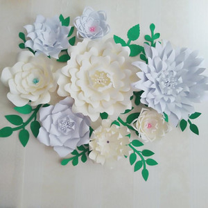 8PCS Giant Paper Flowers + 11PCS Leaves For Wedding Backdrop Wedding Photography Bridal Shower Photo Shoots Archway Decoration