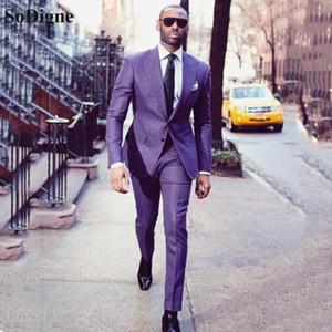 Мужские костюмы Blazers Sodigne Мужчины для свадьбы 2 шт. Деловой костюм Blazer смокинг пикированные костюма ослабляемого костюма Homme Терно вечеринка + брюки