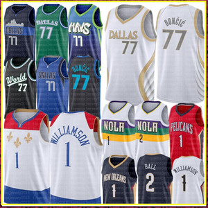 2021 Luka 77 New Doncic Jersey Zion 1 Williamson Jersey Lonzo 2 Ball Basket Plackball Jerseys Logos cucita Dallas