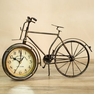 Wholesale-Reminiscent and Vintage Metal Bike Model Table Clock Iron Ornament Craft Accessories Embellishment for Art Collection and Gift