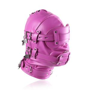 Adult Fetish Headgear Latex Страпон-фаллоимитаторы Эротический Lockable SM косплей костюм аксессуары PU стимпанк головной убор Sexy Head Mask с дилдо