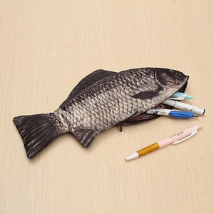 Carp Pen Bag Realistic Fish Shape Make-up Pouch Pencil Case With Zipper Pen Pouch Casual Gift Toiletry Wash Funny Handbag #T5P