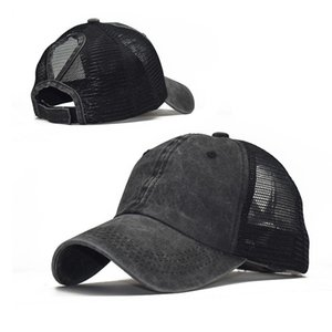 Washed baseball cap ponytail fashion tide curved eaves mesh cap hat spring and summer female outdoor sports sun hat