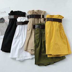 Women Summer Korean Simple Solid Shorts Loose High Waist Slim Loose Green Shorts with Belt Women Black Paperbag