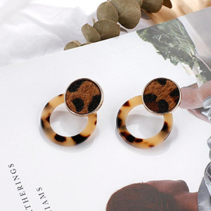 AENSOA Simple Design Leopard Acrylic Round Earrings Unique Leopard Print Leather Statement Drop Earrings Brown Fashion Jewelry
