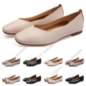 Hot Sale-ladies flat shoe lager size 33-43 womens girl leather Nude black grey New arrivel Working wedding Party Dress shoes fifty-nine