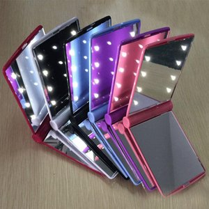 Hot New Lady LED Makeup Mirror Cosmetic 8 LED Mirror Folding Portable Travel Compact Pocket led Mirror Lights Lamps AC1163
