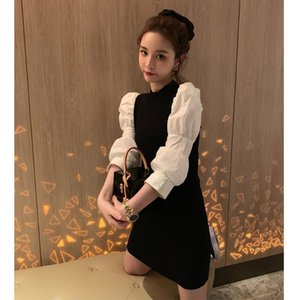 Trend Colorblock Long Sleeve Package Hip Mini Dress Sweet Women Loose Casual Puff Sleeve Pullover Sweater Dresses T200827