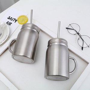 Stainless Steel mug Mason Jar single wall 700ml cup with lid Stainless Steel straw Coffee beer juice mug mason Cans BWF473