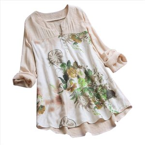 Jaycosin Women Leisure Loose Vintage V Neck Floral Printing Plus Size 2020 Long Sleeve Shirt Female Womens Clothing Blouse 24