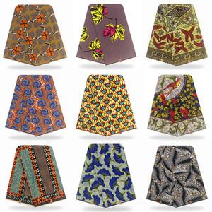 Tissu de cire africain Stretch Ankara Batik Golden Silver 100% coton 6 mètres / PCS Imprimez rappeur pour robe patchwork wewing