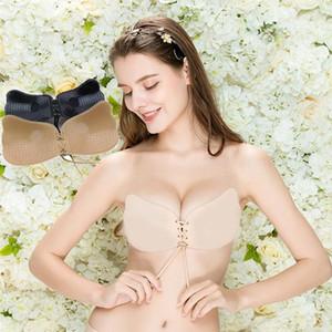 Elovegirl 2PCS Lingerie Seamless Bra Breathable Gather Silicone Nipple Stickers Pull B Underwear Bras for Women Push Up Bralette