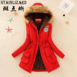 StainLizard Fahion Kadınlar Kış Coat Rahat Pamuk Kırmızı Kapüşonlu Parkas Uzun Kalın Bayanlar Kadın Giyim Sıcak Ceket CJT1421