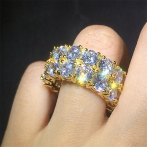 Hip Hop Iced Out Ring Micro Pave CZ Stone Tennis Ring Men Women Charm Luxury Jewelry Crystal Zircon Diamond Gold Silver Plated Wedding . n62