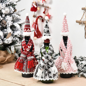 Christmas Champagne Bottle Cover Apron Set Design Festival Christmas Red Wine Bottle Cover Table Wine Bottle Dress Up Props GGB3290