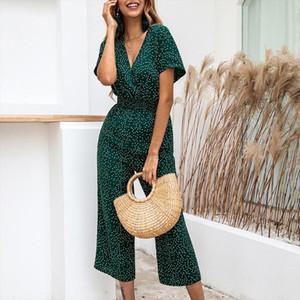 Jumpsuit Short Sleeve Wide Leg Loose Jumpsuit Women Jumpsuits Rompers Summer Casual Print V neck Pocket Overalls 2020 Fashion