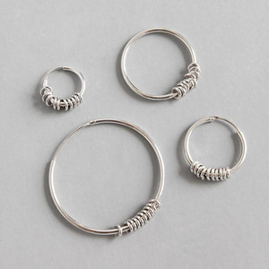 925 sterling silver earrings jewelry Punk Small Circle Hoop Earrings white gold color