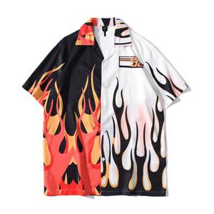 Alev patchwork hawaiian gömlek erkekler vintage sokak erkek gömlek yaz tatil plaj gömlek adam için