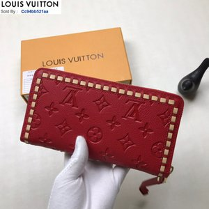 M64869 Matte embossed zip wallet red MEN REAL LEATHER LONG WALLET CHAIN WALLETS COMPACT PURSE CLUTCHES EVENING KEY CARD HOLDERSWWW