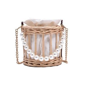 Pearl handle 2020 New Hand-woven Handbag Straw Rattan Crossbody Bag Small Knitting Open Shoulder Women Beach Tote Q1127