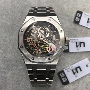 Top Mens Montre Saphir Verre 42mm Squelette Squelette Mouvement automatique Mouvement Solide Bracelet de bracelet mâle